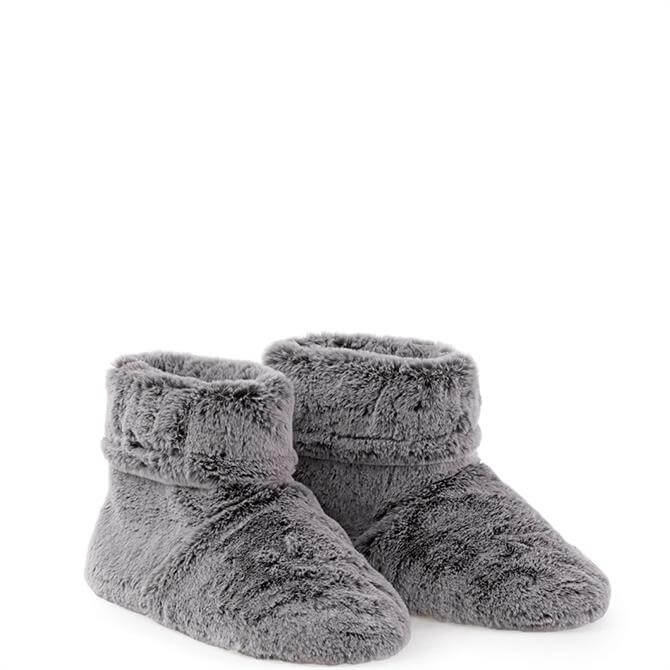 Aroma Home Microwavable Faux Fur Grey Slipper Boots