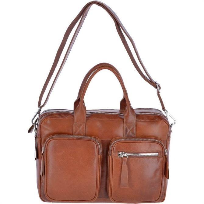Ashwood Two Section Oily Hunter Leather Briefcase