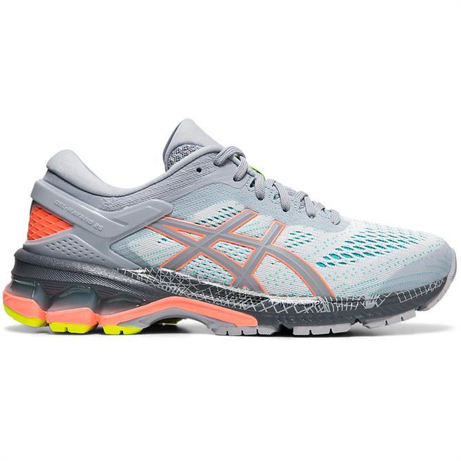 Asics Women's GEL-KAYANO 26 LS Running Shoe - Grey/Coral