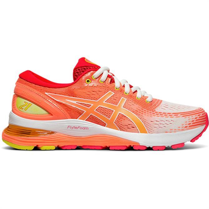 Asics Women's GEL-NIMBUS 21 Running Shoe – Orange/White
