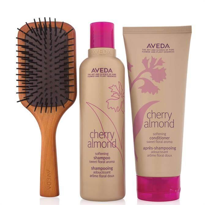 Aveda Cherry Almond Hair & Mini Paddle Brush Set