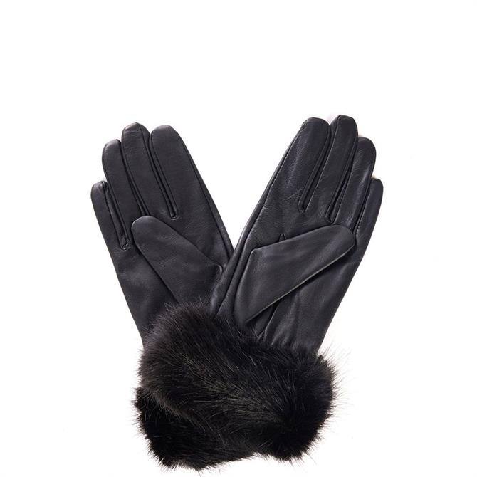 Barbour Faux Fur Trimmed Leather Gloves