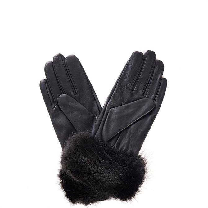 Barbour Faux Fur Trimmed Leather Gloves