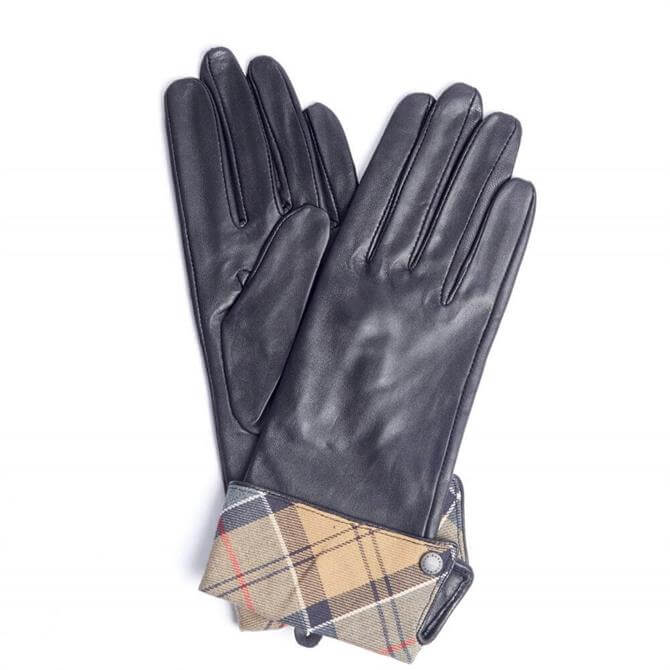 Barbour Lady Jane Black with Dress Leather Gloves