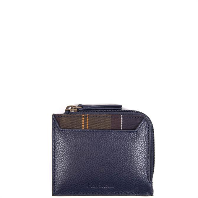 Barbour Navy Leather Coin Card Purse