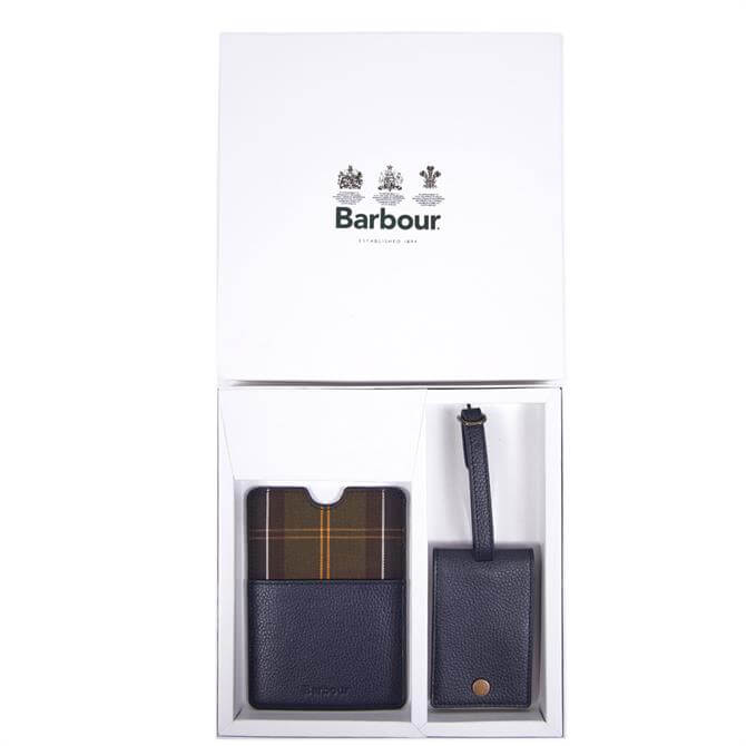 Barbour Navy Leather Passport Cover & Luggage Tag Gift Box Set