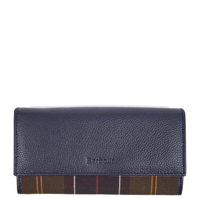 Barbour Convertible Navy Leather Wallet