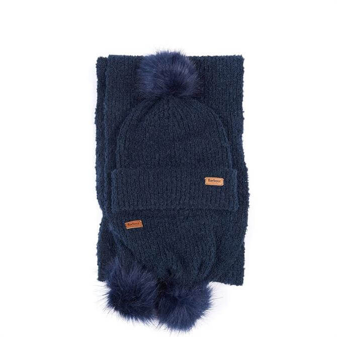 Barbour Boucle Navy Beanie & Scarf Set