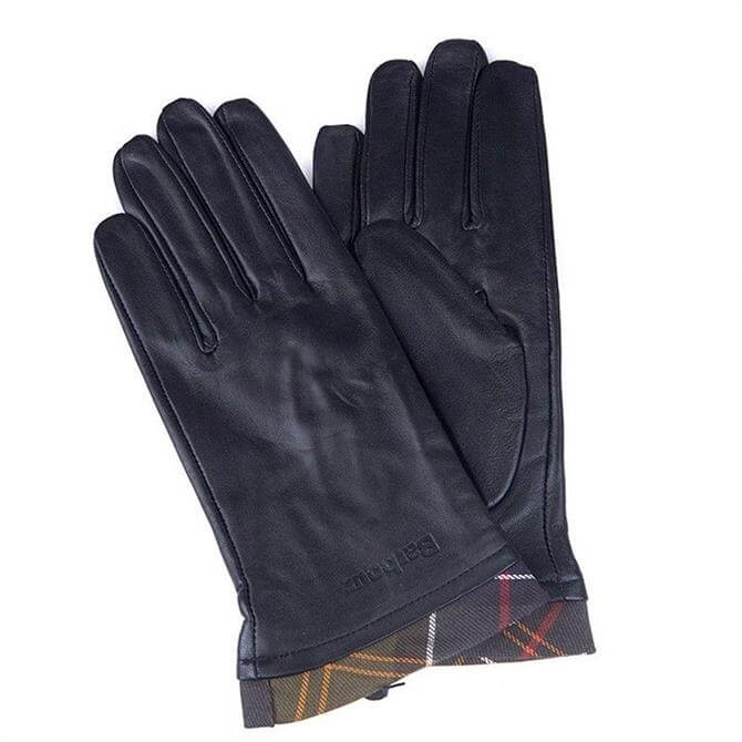 Barbour Tartan Trimmed Black Leather Gloves