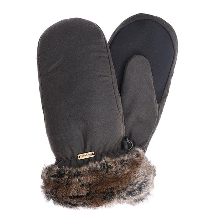 Barbour Wax Mittens with Faux Fur Trim