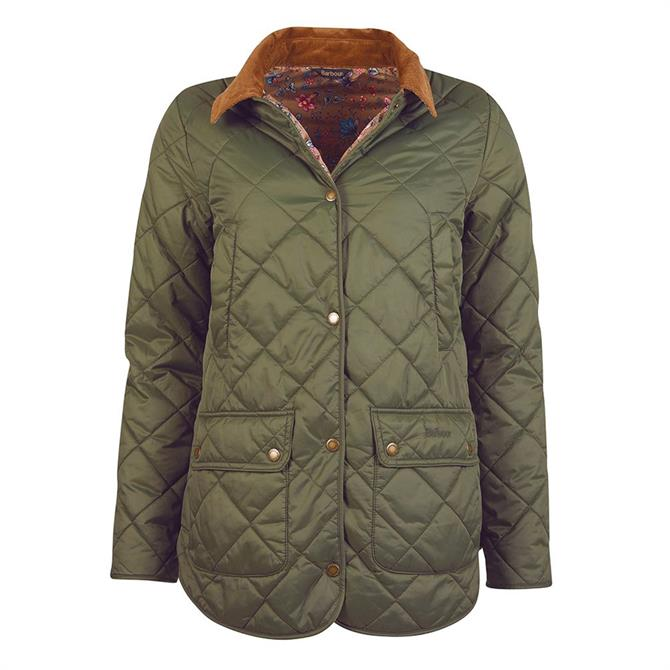 Barbour Laura Ashley Spruce Olive/Indienne Quilted Jacket