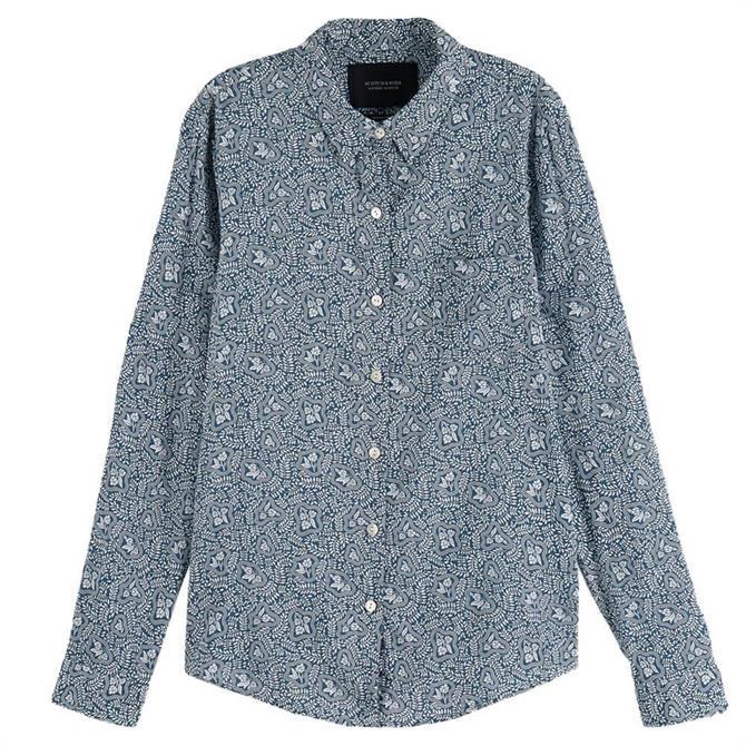 Scotch & Soda Blue Floral Printed Shirt