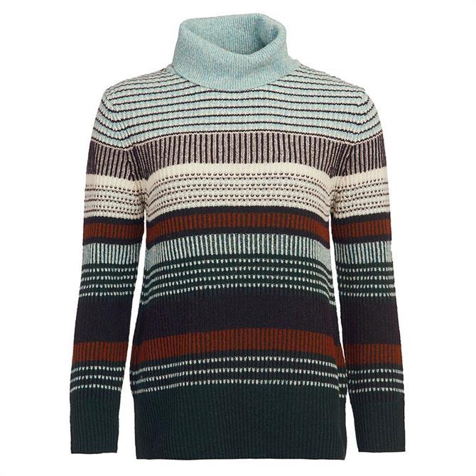 Barbour Roseate Multi-Stripe Funnel Neck Sweater