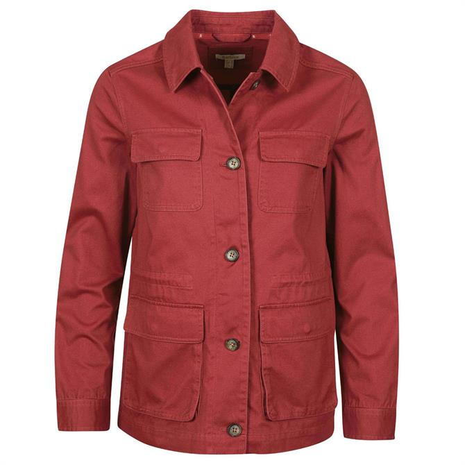 Barbour Saltwater Red Cotton Twill Overshirt