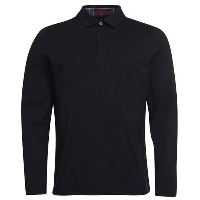 Barbour Dunnet Long Sleeve Black Polo Shirt