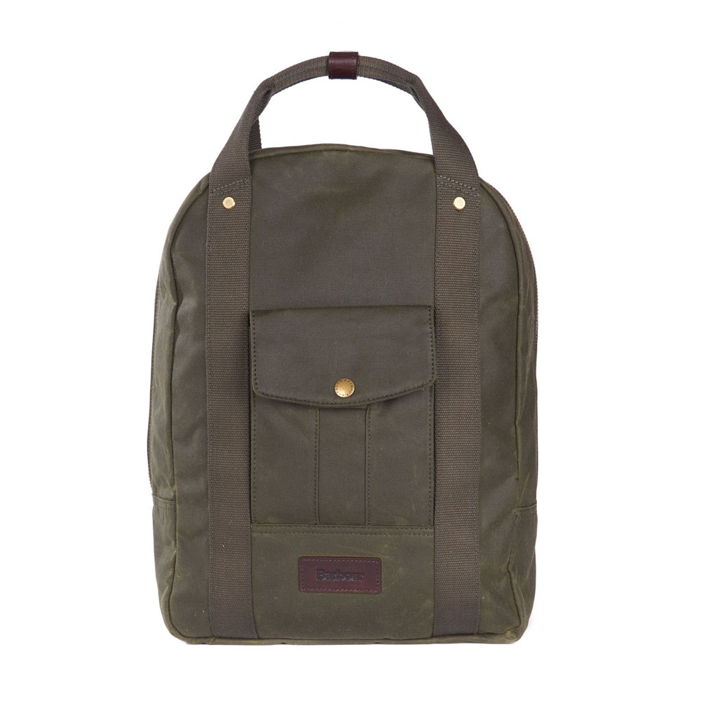 An image of Barbour Houghton Waxed Cotton Backpack - O/S, ARCHIVE OLIVE