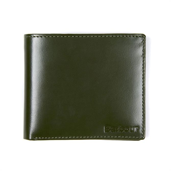 Barbour Keighly Green Leather Billfold Wallet