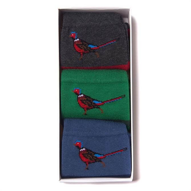 Barbour Pheasant Striped Socks Gift Set