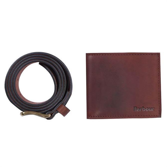 Barbour Brown Leather Wallet & Belt Gift Set