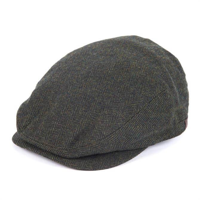 Barbour Barlow Olive Green Tweed Flat Cap