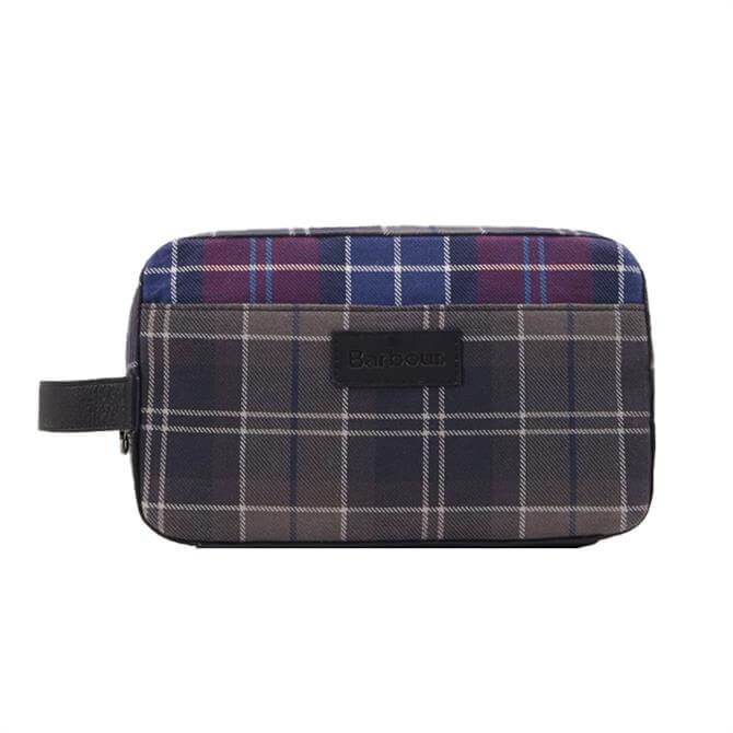 Barbour Mixed Red and Grey Tartan Wash Bag
