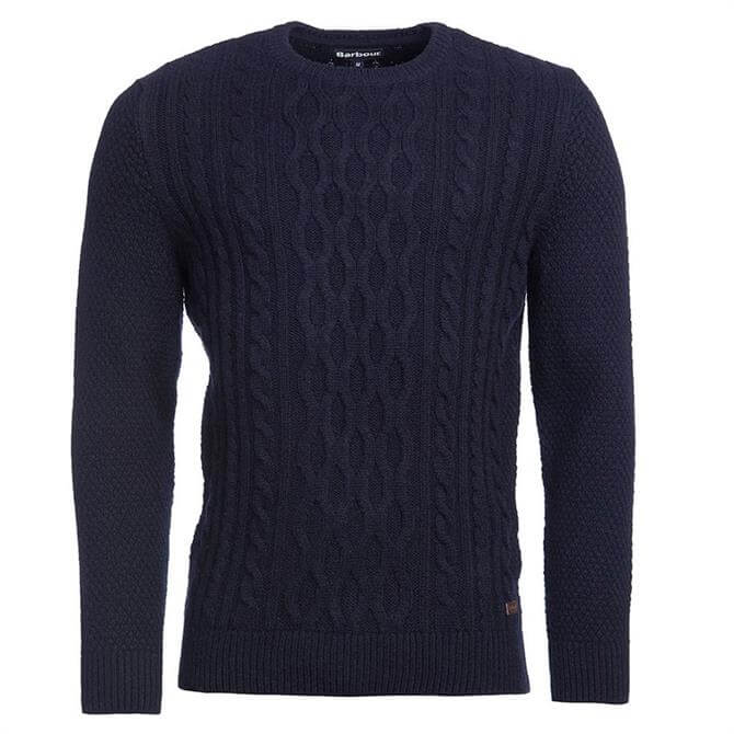 Barbour Navy Chunky Cable Knit Sweater