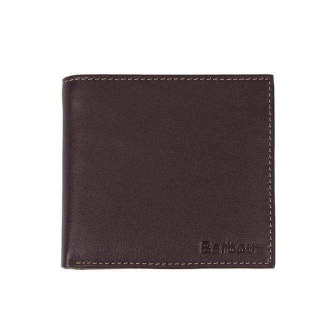 Barbour Elvington Brown Leather Billfold Coin Wallet