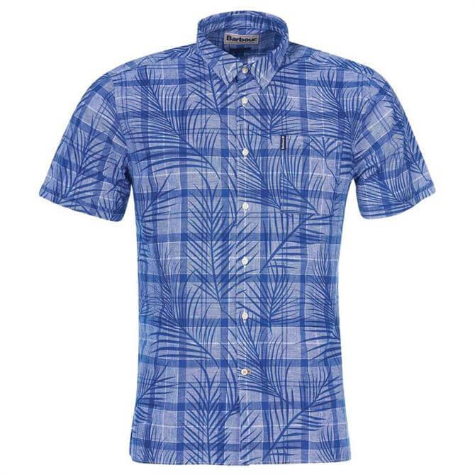 Barbour Check Palm Print Short Sleeve Summer Shirt