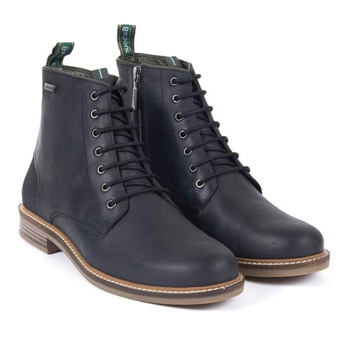 Barbour Seaham Leather Derby Boots in Black
