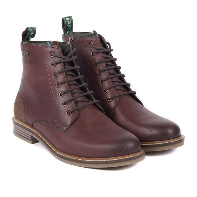 Barbour Seaham Leather Derby Boots in Conker Brown