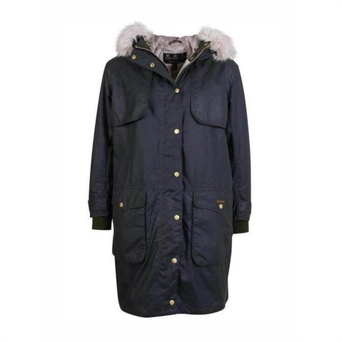Barbour Whitebeam Faux Fur Trimmed Wax Jacket