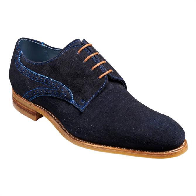 Barker Mason Navy Suede Derby Shoe