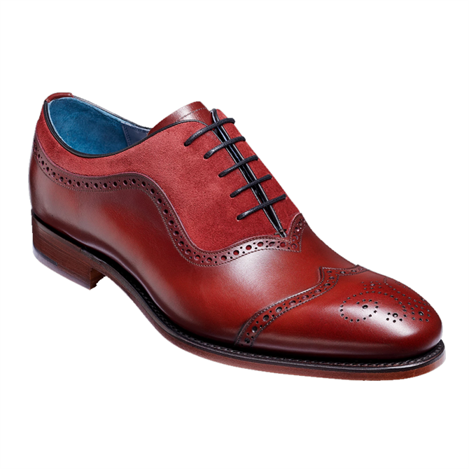 Barker Nicholas Brogue Shoe in Cherry Calf & Burgundy Suede