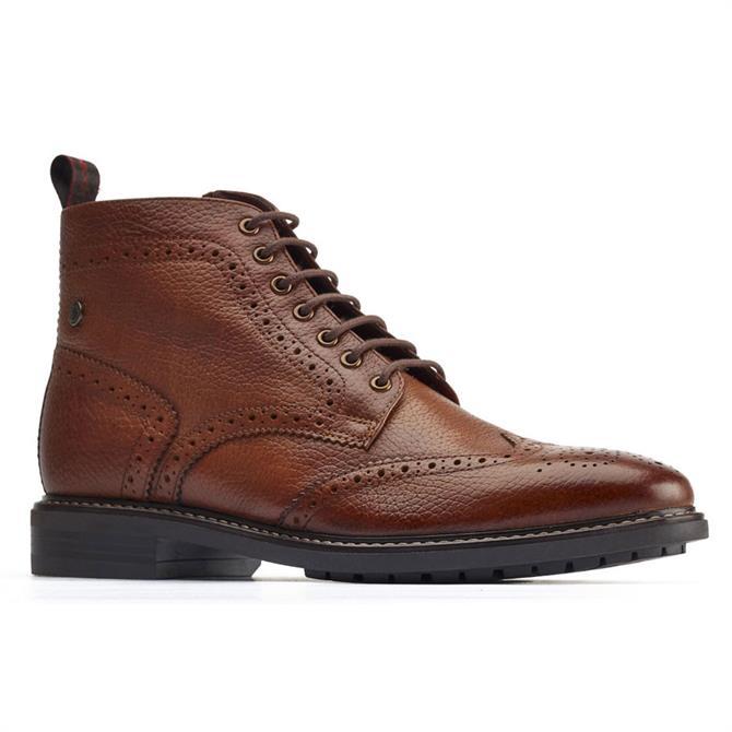 Base London Berkley Tan Brown Leather Brogue Boots