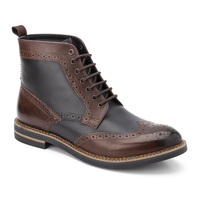 Base London Banner Burnished Boots in Brown & Navy