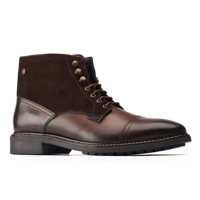 Base London Conrad Brown Combo Lace-Up Boots