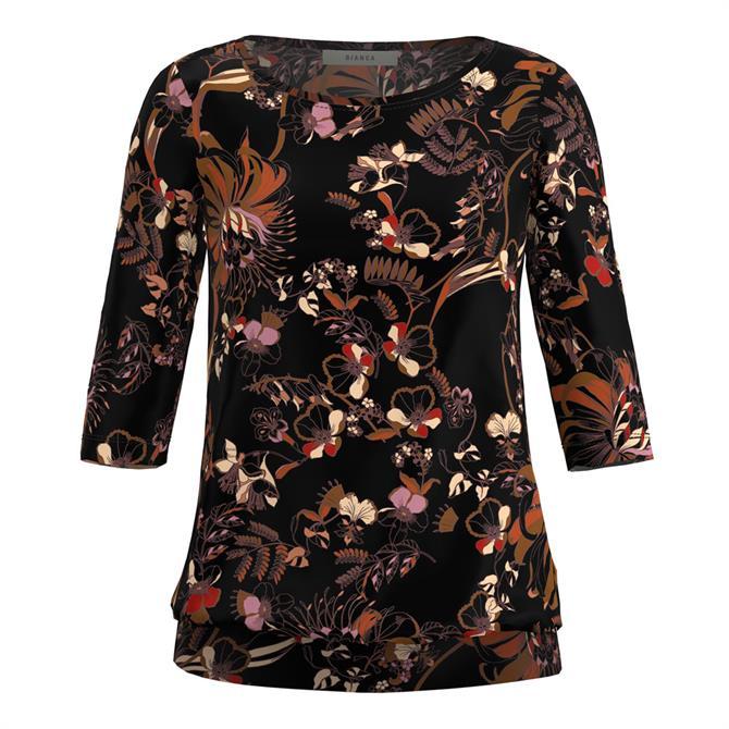 Bianca Dini Floral Print ¾ Sleeve Top