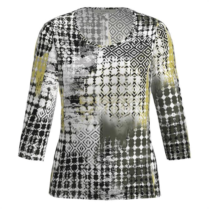 Bianca Dini Mixed Pattern ¾ Sleeve Top
