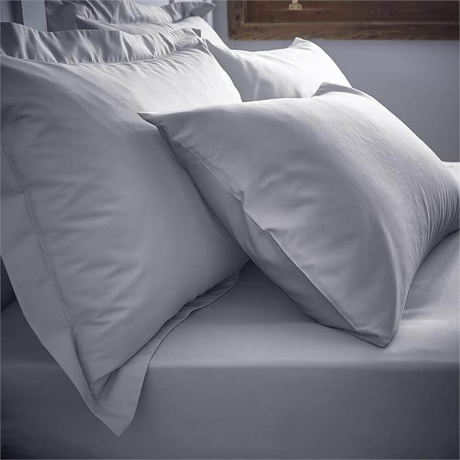 Bianca 200TC Grey Cotton Percale Fitted Sheet