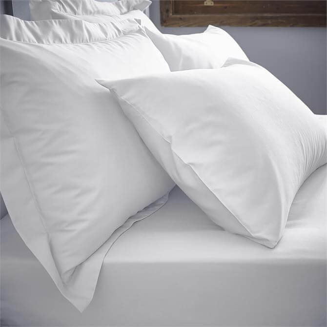 Bianca 200TC White Cotton Percale Pair of Standard Pillowcases