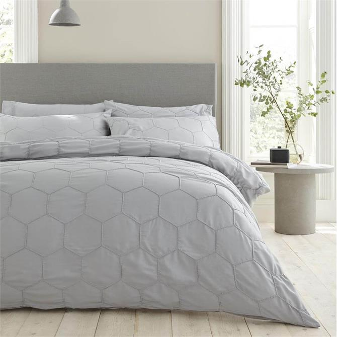 Bianca Honeycomb Pinch Grey Duvet Cover Set
