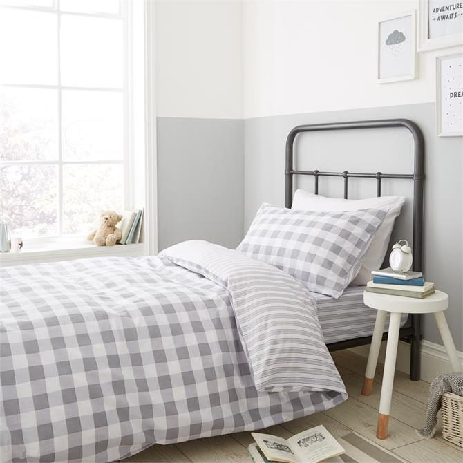 Little Bianca Grey Check Stripe Duvet Cover Set
