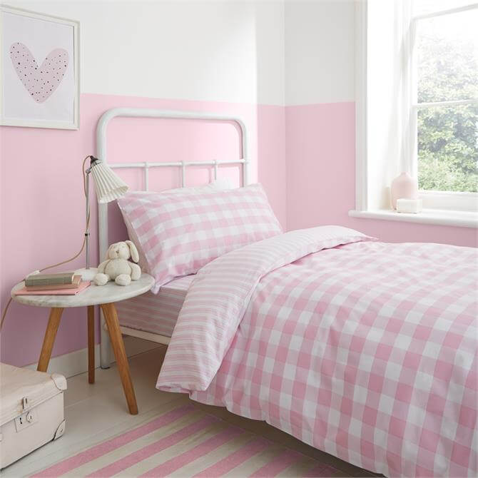 Little Bianca Pink Check Stripe Duvet Cover Set