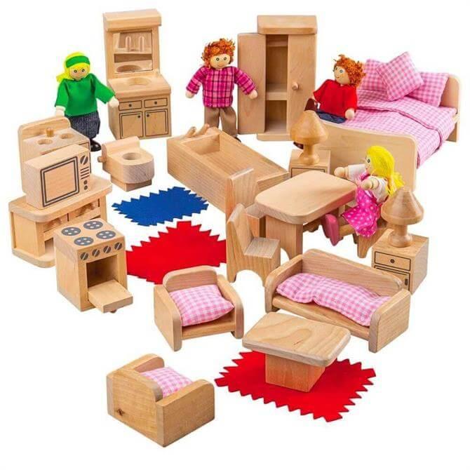 Bigjigs Doll Family & Furniture Set
