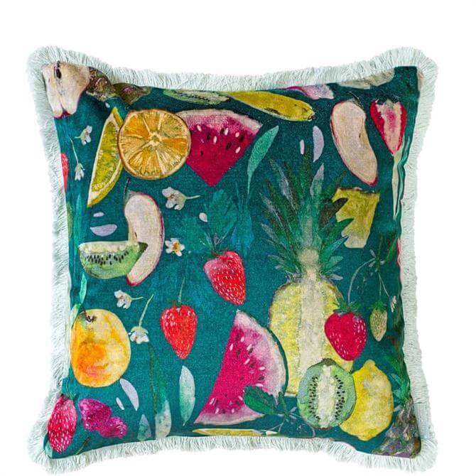 Bluebellgray Tutti Fruit Velvet Forest Cushion