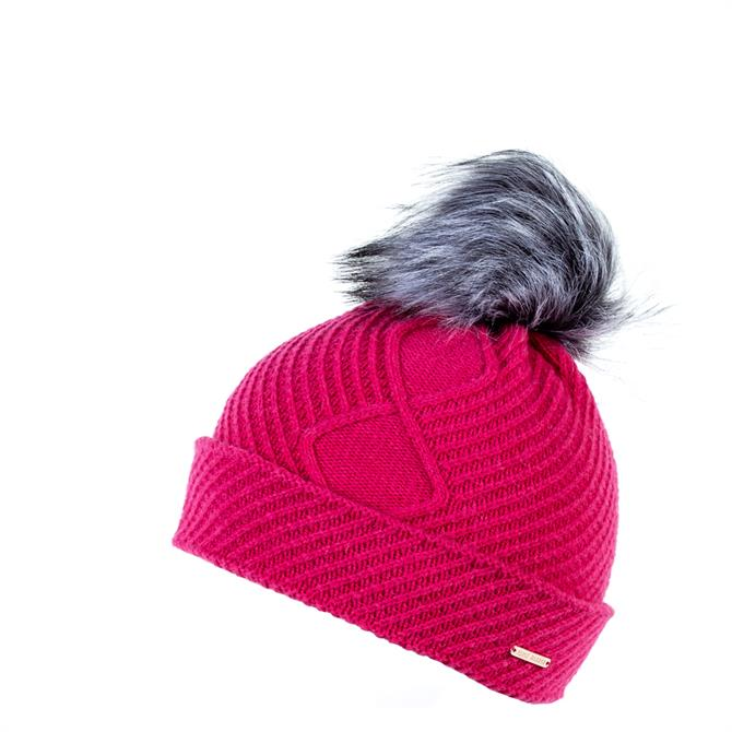 Alice Hannah London Jersey Knitted Beanie with Faux Fur Pom Pom