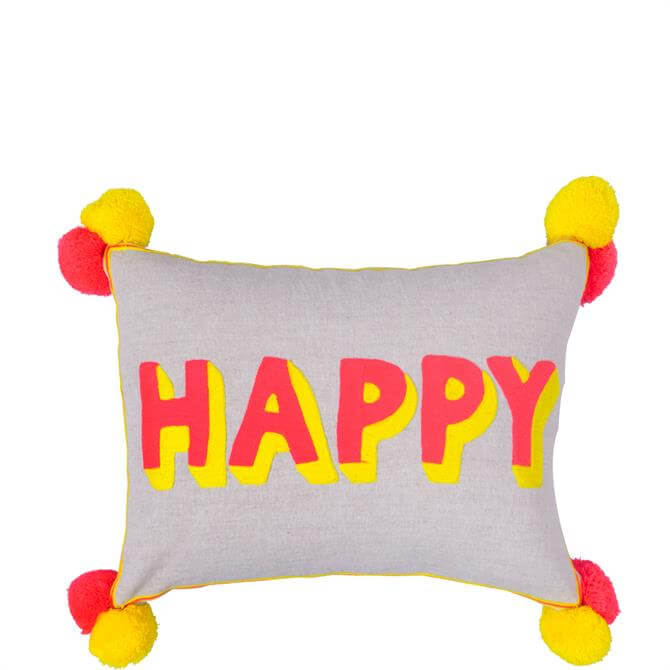 Bombay Duck Happy Embroidered Rectangular Cushion