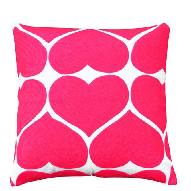 Bombay Duck Embroidered Flamingo Pink Heart Cushion