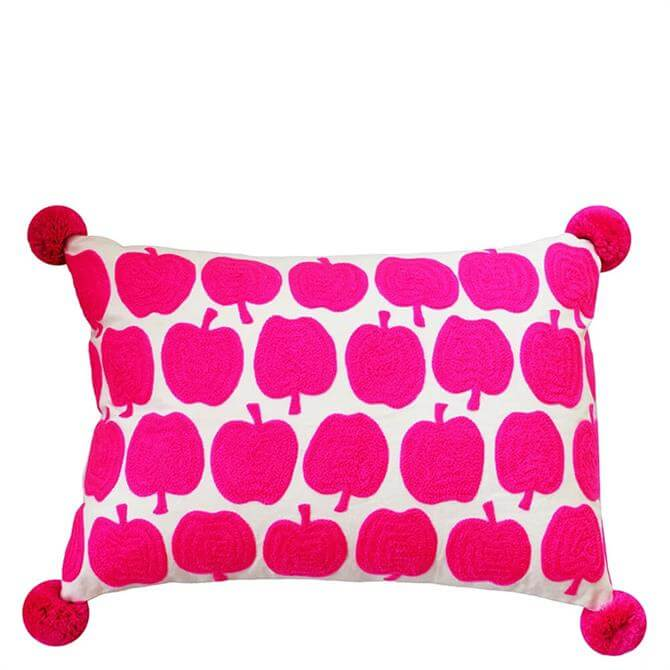 Bombay Duck Pink Apples Embroidered Rectangular Cushion