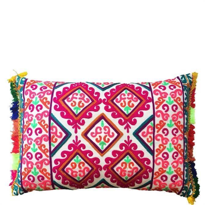 Bombay Duck Fiesta Embroidered Rectangular Multicolour Cushion